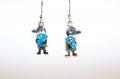 Silver earrings blue